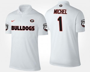 For Men White Name and Number Sony Michel University of Georgia Polo #1
