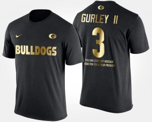 Black Todd Gurley II University of Georgia T-Shirt Gold Limited Men #3 Short Sleeve With Message