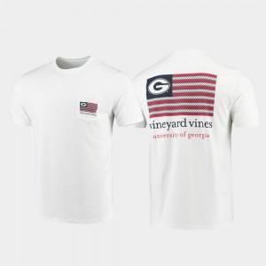 Men Vineyard Vines White Americana Flag UGA Bulldogs T-Shirt