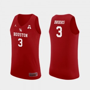 Mens Jordan Brand College Basketball Red #3 Replica Armoni Brooks Houston Jersey