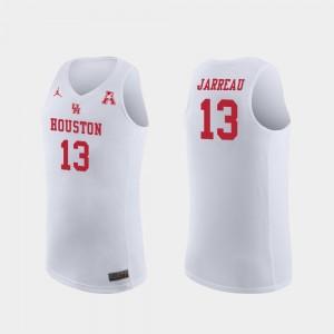 White Replica For Men's Dejon Jarreau Cougars Jersey #13 Jordan Brand College Basketball