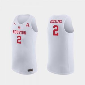 Replica Men's White #2 Jordan Brand College Basketball Landon Goesling UH Cougars Jersey