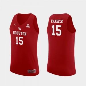 For Men Jordan Brand College Basketball Red Replica Neil VanBeck University of Houston Jersey #15
