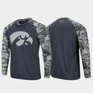 Iowa Hawkeyes T-Shirt Men's Raglan Long Sleeve Digi Camo Charcoal Camo OHT Military Appreciation