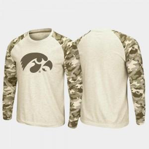 Iowa T-Shirt OHT Military Appreciation Men Raglan Long Sleeve Desert Camo Oatmeal