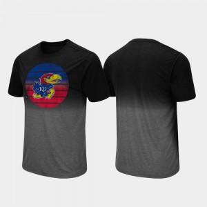University of Kansas T-Shirt Fancy Walking Dip Dye Mens Black