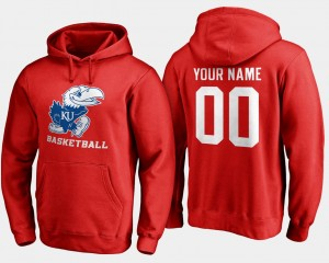Name and Number For Men's #00 Basketball Red Kansas Jayhawks Customized Hoodies