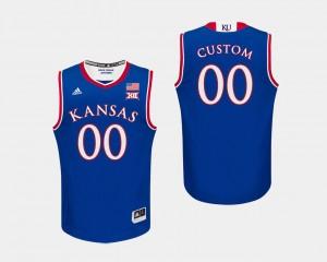 Mens College Basketball #00 Royal Kansas Customized Jersey