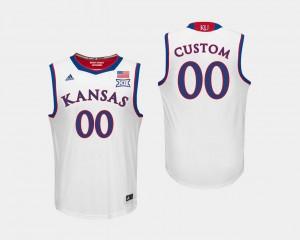 College Basketball Men's Kansas Custom Jerseys White #00