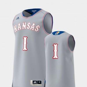 #1 Mens Gray Kansas Jayhawks Jersey Basketball Swingman College Adidas Replica