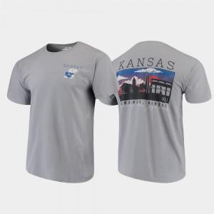 Comfort Colors Campus Scenery Gray Jayhawks T-Shirt For Men's