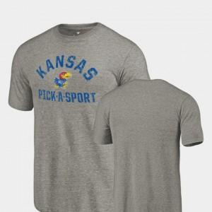 Men Gray Jayhawks T-Shirt Tri Blend Distressed Pick-A-Sport