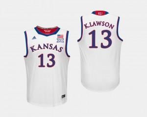 White For Men's K.J. Lawson Jayhawks Jersey #13 College Basketball