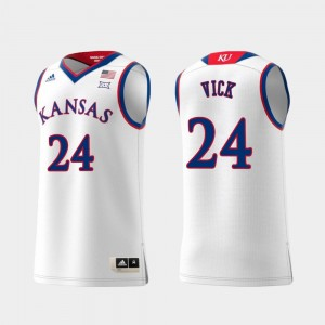 Replica Swingman College Basketball #24 For Men's White Lagerald Vick University of Kansas Jersey