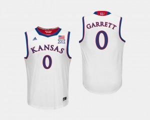 Men White #0 Marcus Garrett Jayhawks Jersey College Basketball
