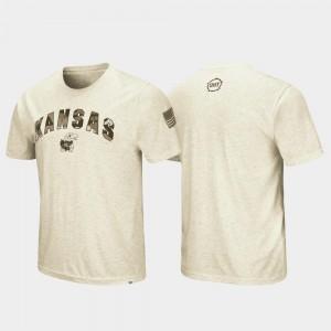 Desert Camo Jayhawks T-Shirt For Men's Oatmeal OHT Military Appreciation