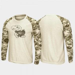 Men OHT Military Appreciation Kansas Jayhawks T-Shirt Raglan Long Sleeve Desert Camo Oatmeal