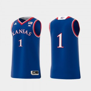 Jayhawks Jersey College Adidas Replica #1 Basketball Swingman Royal Men's