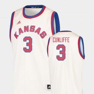 #3 Hardwood Classics Men's College Basketball Sam Cunliffe Kansas Jersey Cream