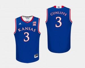 Royal #3 College Basketball Sam Cunliffe Kansas Jersey For Men