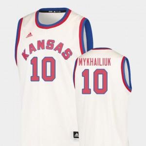 #10 College Basketball For Men's Sviatoslav Mykhailiuk University of Kansas Jersey Hardwood Classics Cream