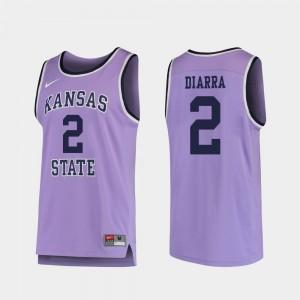 College Basketball Men's Replica Cartier Diarra K-State Jersey #2 Purple