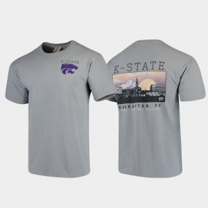 Gray For Men Comfort Colors Kansas State T-Shirt Campus Scenery