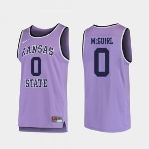 Men College Basketball #0 Purple Replica Mike McGuirl Kansas State University Jersey