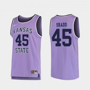#45 College Basketball Replica Purple Nigel Shadd Kansas State Jersey For Men's