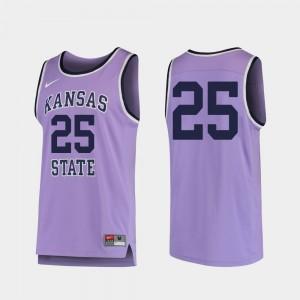 College Basketball For Men's Replica Purple #25 Kansas State Wildcats Jersey
