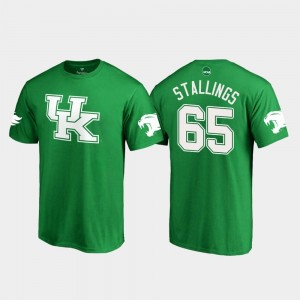 Bunchy Stallings Kentucky Wildcats T-Shirt #65 St. Patrick's Day Kelly Green White Logo College Football Men's