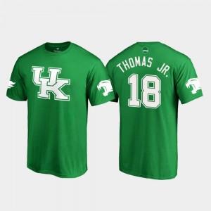 St. Patrick's Day Kelly Green For Men's Clevan Thomas Jr. University of Kentucky T-Shirt White Logo College Football #18