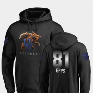 #81 Mens Black Fanatics Branded Football Isaiah Epps University of Kentucky Hoodie Midnight Mascot