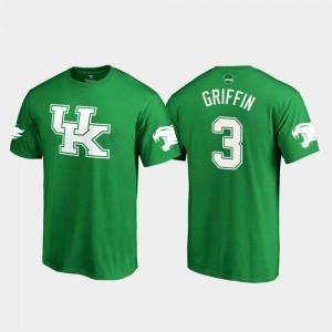 #3 White Logo College Football Kelly Green Jordan Griffin Kentucky Wildcats T-Shirt St. Patrick's Day Men
