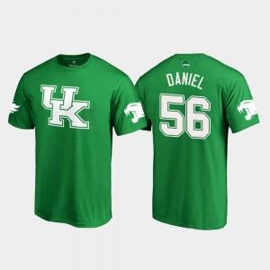 White Logo College Football #56 For Men's Kelly Green St. Patrick's Day Kash Daniel Kentucky Wildcats T-Shirt