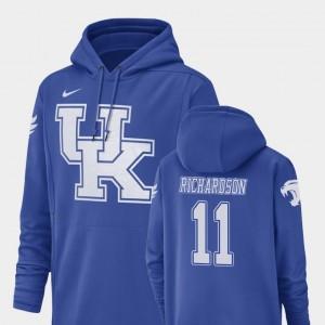 #11 Tavin Richardson Kentucky Wildcats Hoodie Nike Football Performance Royal Champ Drive For Men