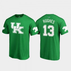 Zy'Aire Hughes Kentucky T-Shirt #13 For Men White Logo College Football St. Patrick's Day Kelly Green