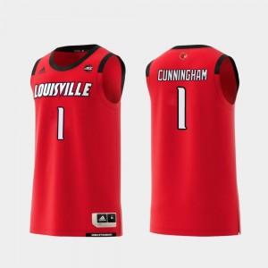 Men's Christen Cunningham Louisville Jersey Replica #1 College Basketball Red