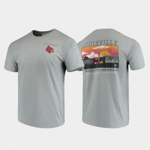 Louisville Cardinals T-Shirt Campus Scenery For Men's Comfort Colors Gray