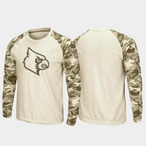 For Men Oatmeal OHT Military Appreciation Louisville Cardinals T-Shirt Raglan Long Sleeve Desert Camo