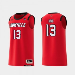 Red Replica #13 For Men's College Basketball V.J. King Louisville Jersey