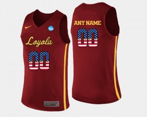 US Flag Fashion Mens Loyola Customized Jerseys Basketball Maroon #00