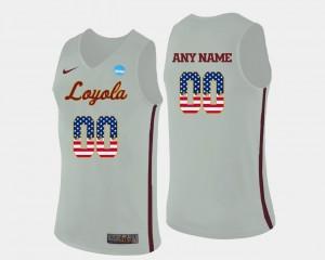 Loyola Customized Jerseys White #00 For Men's Basketball US Flag Fashion