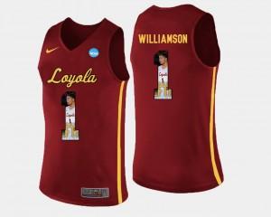 For Men Lucas Williamson Loyola Jersey Basketball #1 Maroon Pictorial Fashion