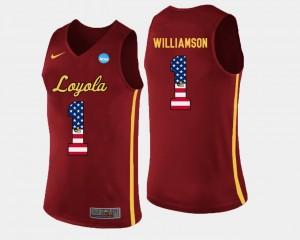 Lucas Williamson Loyola Ramblers Jersey #1 Maroon US Flag Fashion Basketball For Men