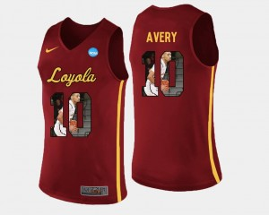 Pictorial Fashion For Men's #10 Adarius Avery Loyola Jersey Basketball Maroon