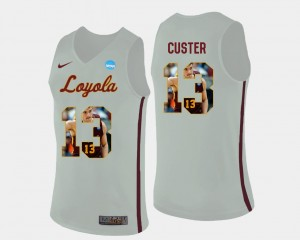 #13 Basketball White For Men's Clayton Custer Ramblers Jersey Pictorial Fashion