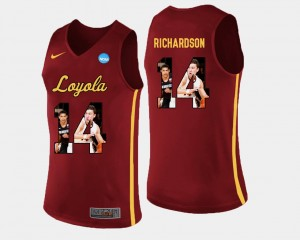 Maroon Ben Richardson Loyola Jersey #14 Mens Basketball Pictorial Fashion