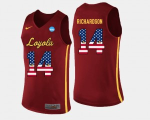Ben Richardson Loyola Ramblers Jersey Maroon US Flag Fashion #14 Basketball For Men
