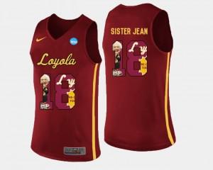 Sister Jean Loyola Ramblers Jersey Pictorial Fashion For Men's Basketball #18 Maroon